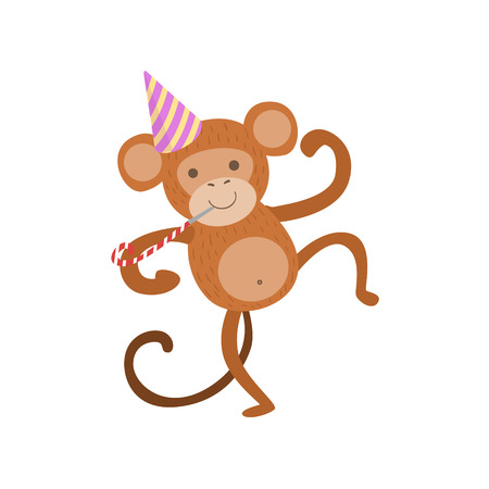 attending: Monkey Cute Animal Character Attending Birthday Party. Childish Cartoon Style Animal With Celebration Attributes Vector Sticker