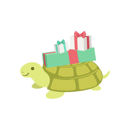attending: Turtle Cute Animal Character Attending Birthday Party. Childish Cartoon Style Animal With Celebration Attributes Vector Sticker