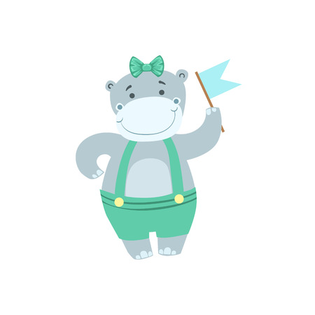 attending: Hippo Cute Animal Character Attending Birthday Party. Childish Cartoon Style Animal Dressed In Human Clothes Vector Sticker Illustration