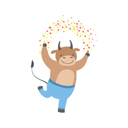 attending: Bull Cute Animal Character Attending Birthday Party. Childish Cartoon Style Animal Dressed In Human Clothes Vector Sticker Illustration