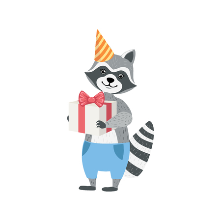 attending: Raccoon Cute Animal Character Attending Birthday Party. Childish Cartoon Style Animal Dressed In Human Clothes Vector Sticker