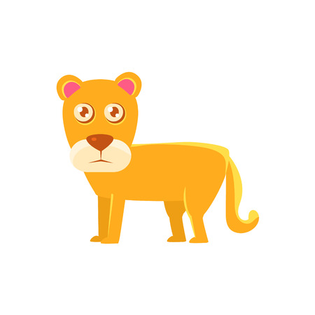 lioness: Lioness Toy Exotic Animal Drawing. Silly Childish Illustration Isolated On White Background. Funny Animal Colorful Vector Sticker.