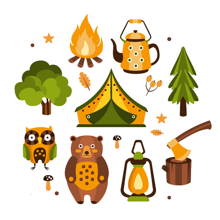 Camping Associated Symbols Illustration. Set Of Hiking And Camping Equipment And Related Objects In Fun Simple Stylized Vector Drawing.