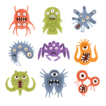 unfriendly: Aggressive Fantastic Alien Microorganisms Set. Bright Color Primitive Unfriendly Creatures Of Different Shapes Drawings Collection Isolated On White Background.