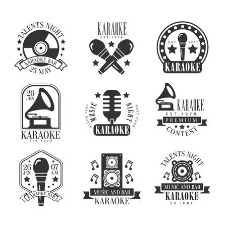 established: Karaoke Bar Black And White Label Set Set Of Traditional Style Flat Vector Design Templates On White Background Illustration