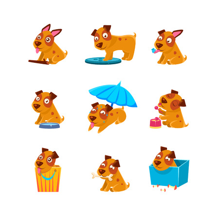 canalization: Puppy Everyday Activities Collection Of Silly Childish Drawings Isolated On White Background. Funny Animal Colorful Vector Stickers Set.