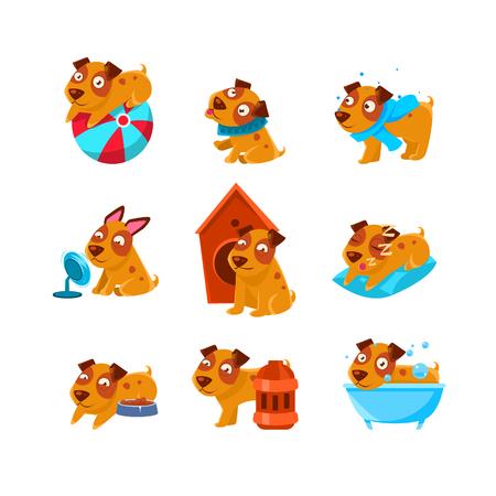 Puppy dagelijkse activiteiten Set Of Silly Kinderachtig Tekeningen Op Een Witte Achtergrond. Funny Animal Kleurrijke Vector Stickers Set.