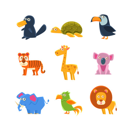 platypus: Exotic Animals Fauna Set Of Silly Childish Drawings Isolated On White Background. Funny Animal Colorful Vector Stickers Set.