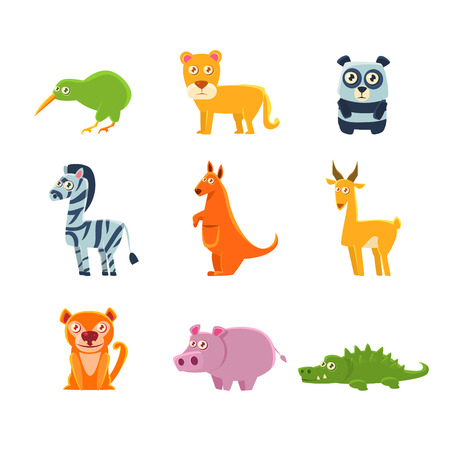 Exotic Animals Fauna Collection Of Silly Childish Drawings Isolated On White Background. Funny Animal Colorful Vector Stickers Set.