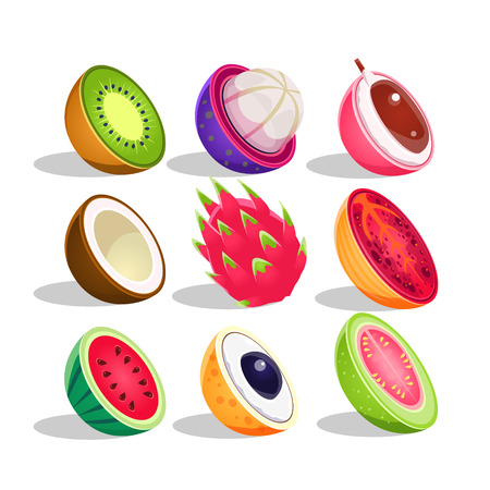 Exotic Fruits Sliced In Half Set Of Bright Icons. Isolated Vector Drawings Of Tropical Fruits On White Background