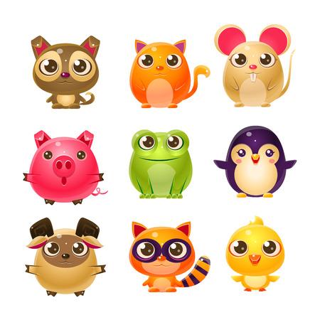 Sweet Baby Tier Girly Entwurf. Set helle Farbe-Vektor-Icons auf weißem Hintergrund isoliert. Nette Childish Tierfiguren Entwurf.