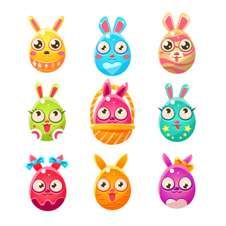 egg shaped: Egg Shaped Easter Bunny In Different Designs.. Set Of Bright Color Vector Icons Isolated On White Background. Cute Childish Animal Characters Design.
