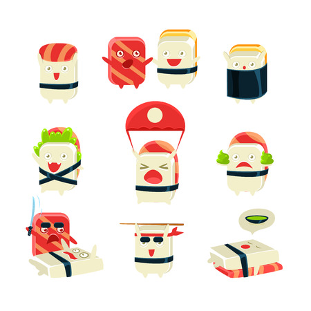 kamikaze: Japanese Sushi Man Different Activities. Set Of Silly Childish Drawings Isolated On White Background. Funny Creature Colorful Vector Stickers Set.