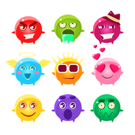 Collection Of Spherical Character Emoji Icons.Cute Emoticons In Cartoon Childish Style Isolated On White Background.