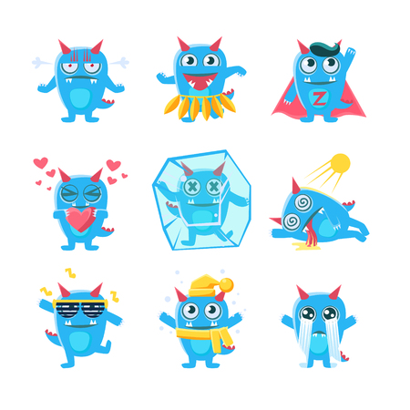 Blue Monster Character Activities. Set Of Silly Childish Drawings Isolated On White Background. Funny Fantastic Animal Colorful Vector Stickers Set.