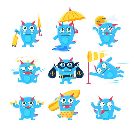 Blue Devil In Different Situations. Set Of Silly Childish Drawings Isolated On White Background. Funny Fantastic Animal Colorful Vector Stickers Set.