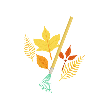 Rake And Fallen Leaves As Autumn Attribute. Seasonal Symbol In Cute Detailed Cartoon Style On White Background. Illustration