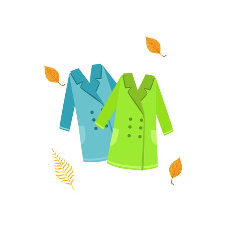 Two Warm Coats As Autumn Attribute. Seasonal Symbol In Cute Detailed Cartoon Style On White Background. Illustration