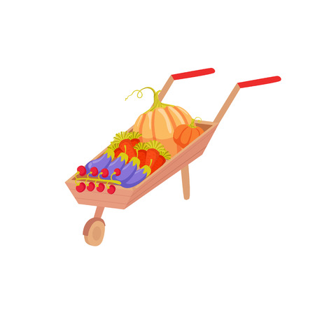 attribute: Wheel Barrel With Vegetables As Autumn Attribute. Seasonal Symbol In Cute Detailed Cartoon Style On White Background.