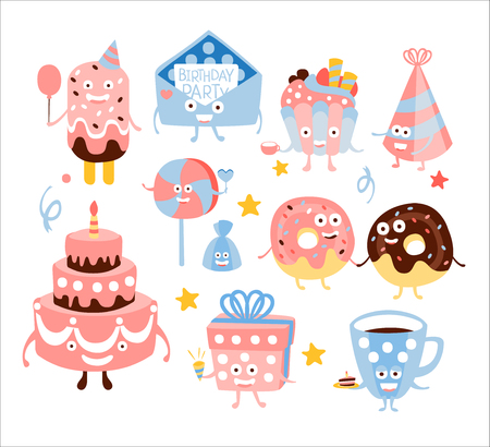 Kid Birthday Party Sweets And Attributes. Girly Colors Stylized Smiling Characters With Celebration Decorations. Flat Vector Stickers On White Background. Illustration
