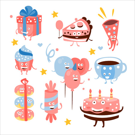 attributes: Child Birthday Party Sweets And Attributes. Girly Colors Stylized Smiling Characters With Celebration Decorations. Flat Vector Stickers On White Background.