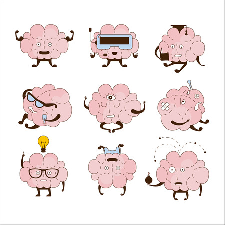 sabotage: Brain Different Activities And Emotions Icon Set. Comic Style Outlined Hand Drawn Emojis Isolated On White Background.