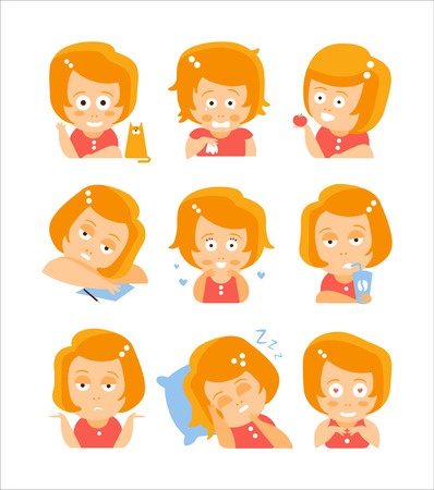 red head girl: Little Red Head Girl Cute Portrait Icons. Cartoon Character Emoji Set In Simple Childish Bright Color Drawings Isolated On White Background.