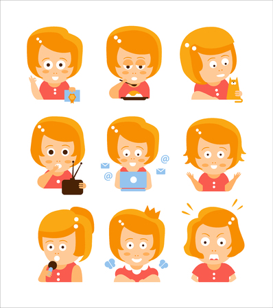 red head girl: Young Red Head Girl Cute Portrait Icons. Cartoon Character Emoji Set In Simple Childish Bright Color Drawings Isolated On White Background.