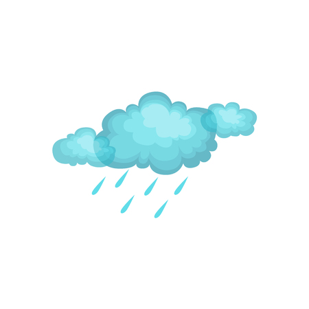 attribute: Rain And Cloud As Autumn Attribute. Seasonal Symbol In Cute Detailed Cartoon Style On White Background. Illustration