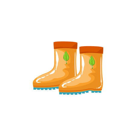 attribute: Rubber Boots As Autumn Attribute. Seasonal Symbol In Cute Detailed Cartoon Style On White Background.