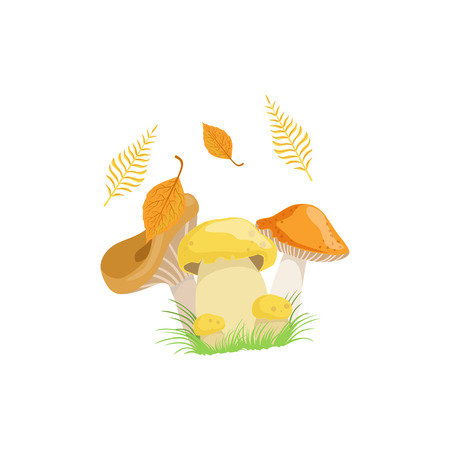 attribute: Three Mushrooms As Autumn Attribute. Seasonal Symbol In Cute Detailed Cartoon Style On White Background.