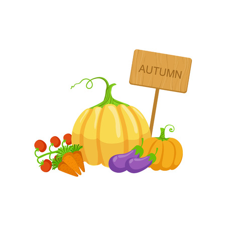 attribute: Vegetable Crops As Autumn Attribute. Seasonal Symbol In Cute Detailed Cartoon Style On White Background. Illustration
