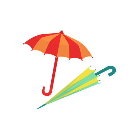 Two Umbrellas As Autumn Attribute. Seasonal Symbol In Cute Detailed Cartoon Style On White Background.