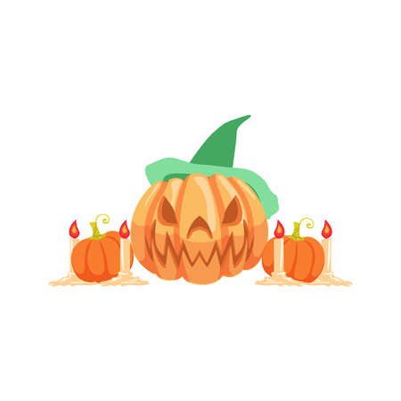 attribute: Halloween Pumpkin Lantern As Autumn Attribute. Seasonal Symbol In Cute Detailed Cartoon Style On White Background. Illustration