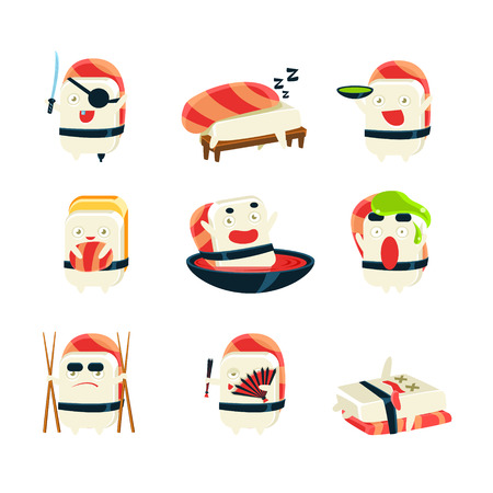 funny creature: Maki Sushi Character Japan Themed Activities. Set Of Silly Childish Drawings Isolated On White Background. Funny Creature Colorful Vector Stickers Set. Illustration