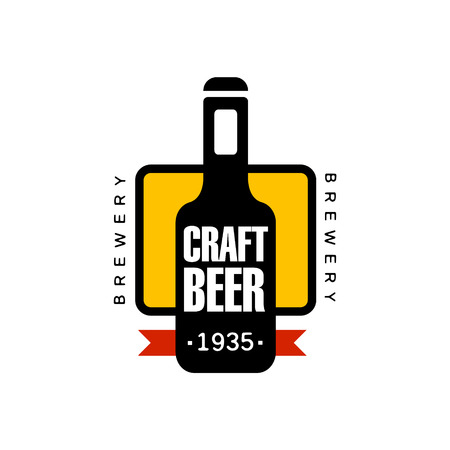 Craft Beer Design Template. Black And Yellow Vector Label With Text And Establishment Date For Brewery Promotion. Illustration