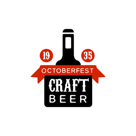 established: Oktoberfest Craft Beer Design Template. Black And Yellow Vector Label With Text And Establishment Date For Brewery Promotion.