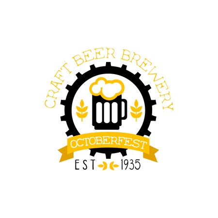 established: Beer Design Template With Pint. Black And Yellow Vector Label With Text And Establishment Date For Brewery Promotion.
