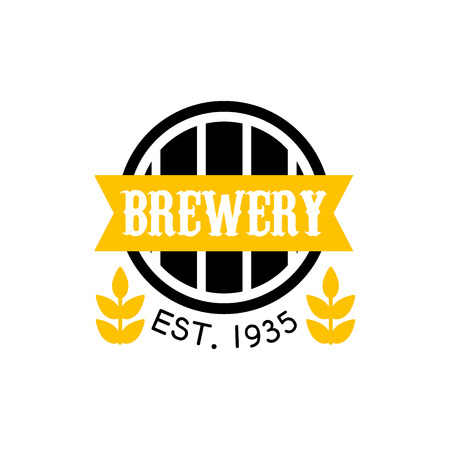 established: Brewery Design Template. Black And Yellow Vector Label With Text And Establishment Date For Brewery Promotion.