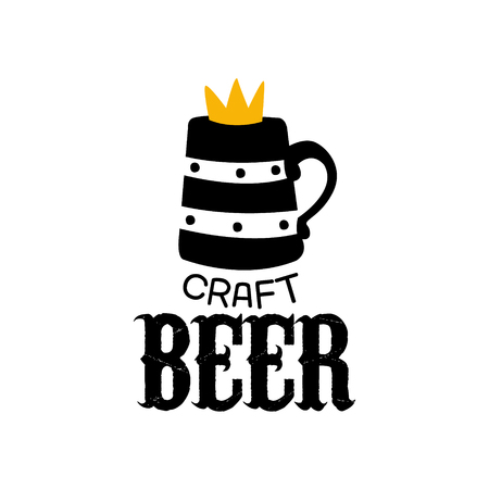 yellow crown: Craft Beer Design Template With Crown. Black And Yellow Vector Label With Text And Establishment Date For Brewery Promotion.