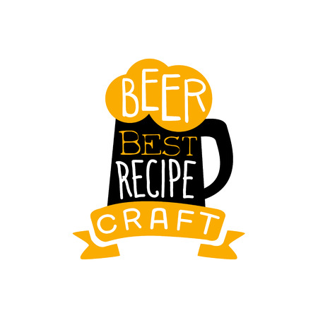 established: Best Recipe Beer Design Template. Black And Yellow Vector Label With Text And Establishment Date For Brewery Promotion. Illustration