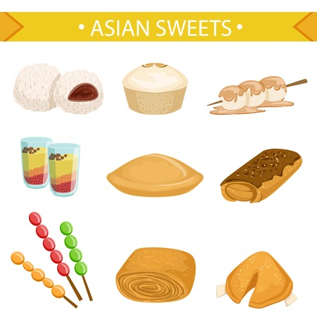 Asian Sweets Famous Dishes Illustration Set. Traditional Cuisine Restaurant Menu Plates In Simplified Vector Drawings, Illustration