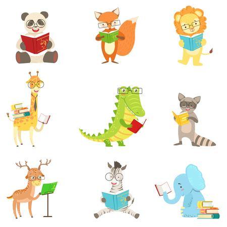 Animal Characters libros de lectura lindos SET. De dibujos animados infantiles Style Animales humanizados pegatinas vector aislado sobre fondo blanco. Foto de archivo - 63842451