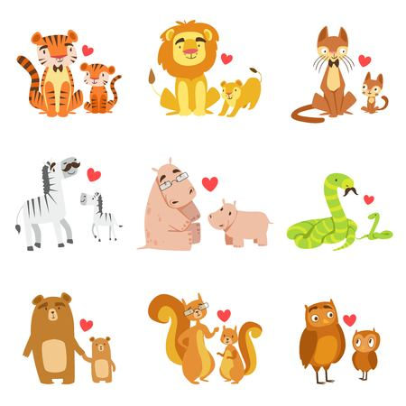 pairs: Small Animals And Their Dads Illustration Set. Colorful Childish Style Cartoon Animals In Parent Child Pairs Isolated On White Background.
