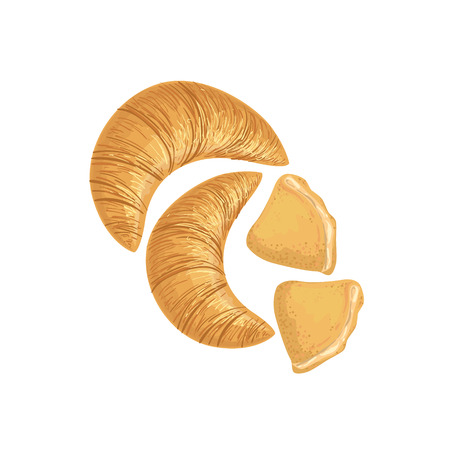 simplified: Croissants And Scones Bakery Assortment Isolated Icon. Simplified Realistic Flat Vector Drawings On White Background. Illustration