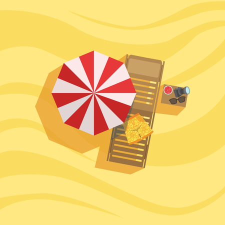 Swimshorts, Sunbed And Umbrella Spot On The Beach Composition. Place On The Sand With Vacation Attributes From Above Bright Color Vector Illustration.