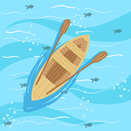 from above: Wooden Boat With Blue Sea Water On Background. Beach Vacation Related Illustration Drawn From Above In Simple Vector Cartoon Style. Illustration