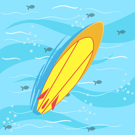 from above: Surfing Board With Blue Sea Water On Background. Beach Vacation Related Illustration Drawn From Above In Simple Vector Cartoon Style. Illustration