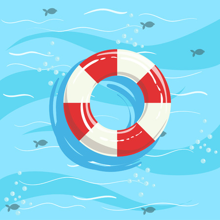 ring buoy: Classic Life Preserver Ring Buoy With Blue Sea Water On Background. Beach Vacation Related Illustration Drawn From Above In Simple Vector Cartoon Style.