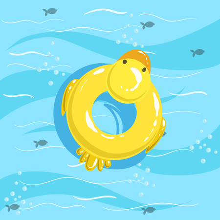 Toy Inflatable Duck Ring With Blue Sea Water On Background. Beach Vacation Related Illustration Drawn From Above In Simple Vector Cartoon Style. Illustration